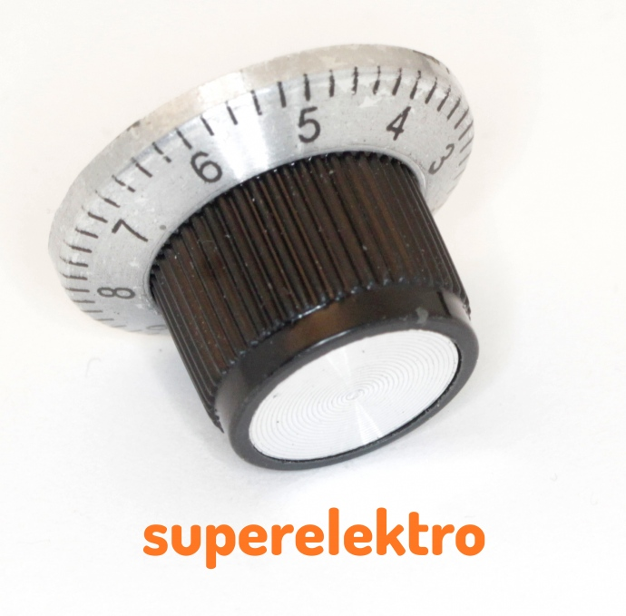 2x drehknopf f r potentiometer mit skala poti knopf ebay. Black Bedroom Furniture Sets. Home Design Ideas